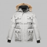 Herr Nobis Barry Parka Colour Crosshatch Balsam Vit..
